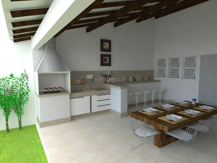 Decoração da área de lazer com churrasqueira
