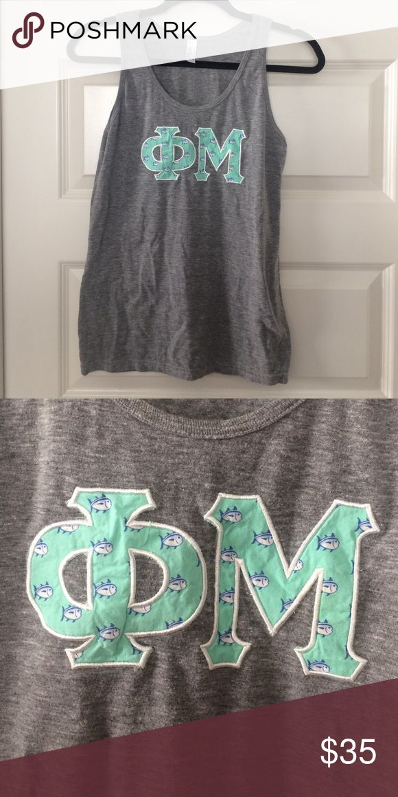 Phi Mu Skipjack Letter Tank Phi Mu letter Tank in mint skipjack pattern. LOVE this Tank. Size S. Great condition. American Apparel Tops Tank Tops