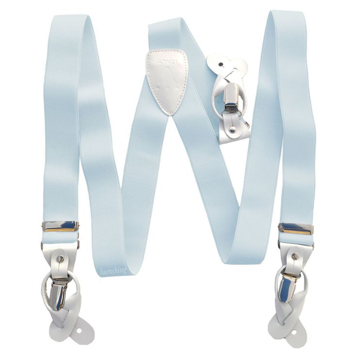 New in box Men's Suspender light blue Braces elastic clips buttons casual #VesuvioNapoli