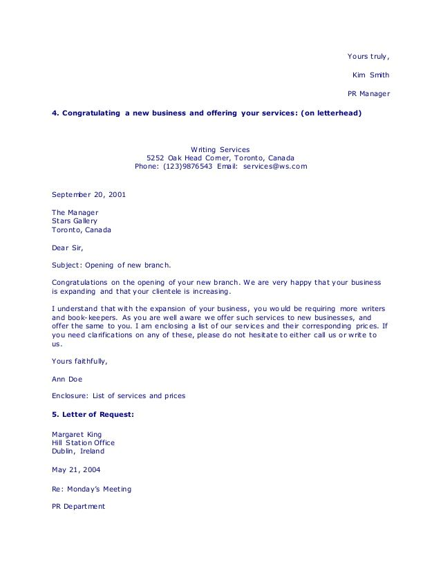 types business letters writing international messages