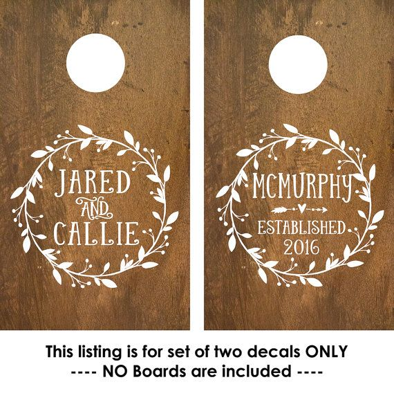 Perfect for a rustic wedding! Create your own personalized cornhole board and add these Monogram Decals to them to remind you of your love every time you play.  SET of TWO personalized corn hole decals (NO BOARD is INCLUDED)