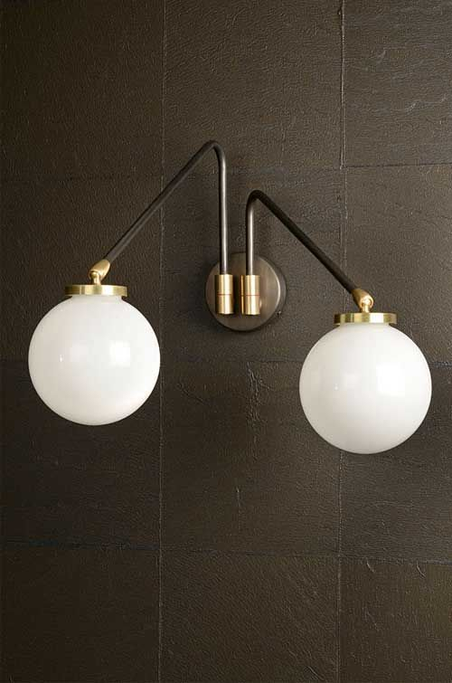 The Array Twin opal wall lamp from CTO #lighting #lamps #sconce #globe #hauteliving #cto