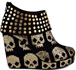skull shoesShoes, Fashion, Style, Iron Fist, Ankle Boots, Gold Stars, Stars Wedges, Skull Wedges, Black Gold