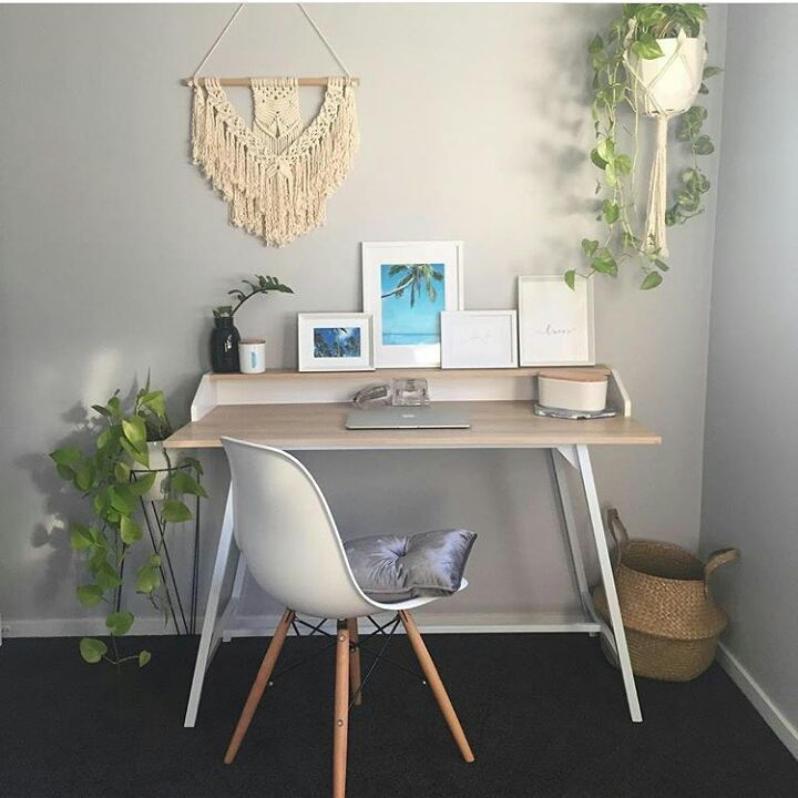 "516 Likes, 12 Comments - Kmart Desired & Inspired Home (@kmart.desired.inspired.home) on Instagram: ""Cute little corner desk set up by @artbyrhii Kmart desk, chair, cushion, plant stand and pot,…"""