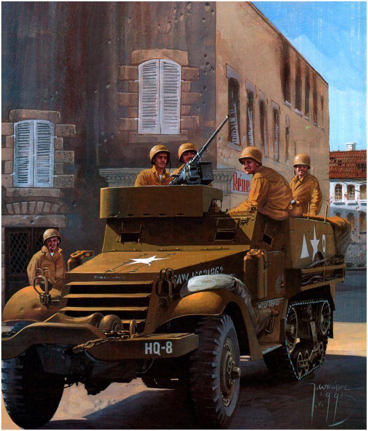 M3A1 «Holy-Devils» Scout Car del Cuartel General de la 2. División Acorazada atraviesa un pueblo de Avranches, Normandía, agosto de 1944, durante a la liberación de la Francia ocupada. Jaroslaw Wróbel.  http://www.elgrancapitan.org/foro/viewtopic.php?f=12&t=17519&p=891683#p891595