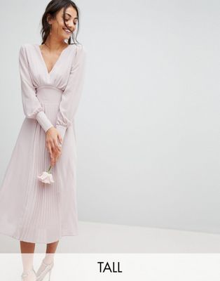 TFNC Tall WEDDING Long Sleeve Midi Dress With Pleated Skirt