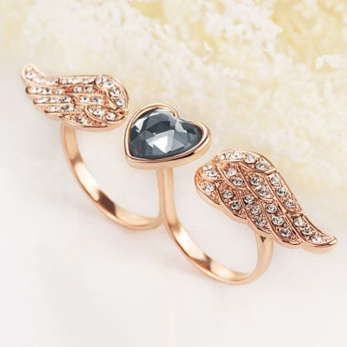 Glamorous 18K Rose Gold Zircon Crystal Angel Women's Rings