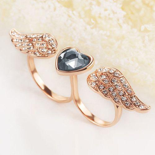 Glamorous 18K Rose Gold Zircon Crystal Angel Women's Rings