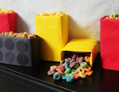 Mini cereal boxes turned into lego brick snack bags - would make a good treat bag also