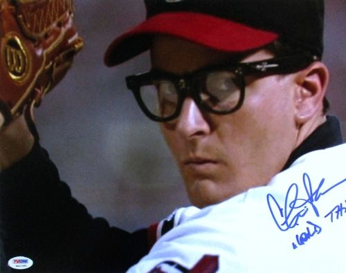 Charlie Sheen Signed Major League Rick Vaughn 11x14 Photo Wild Thing PSA/DNA