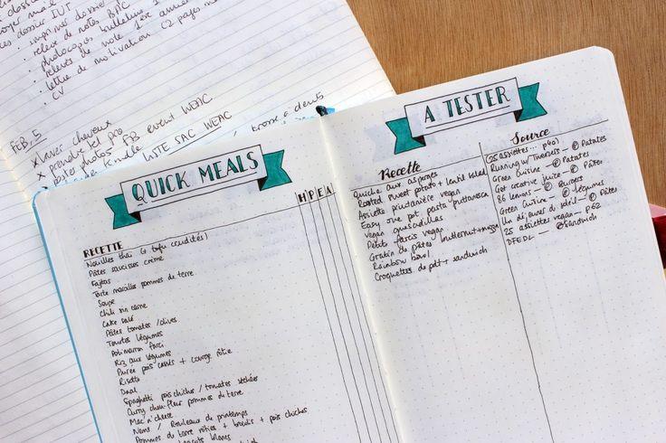 Dans le bullet journal: liste de recettes