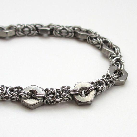 Hex nut & Byzantine chainmail bracelet by TattooedAndChained