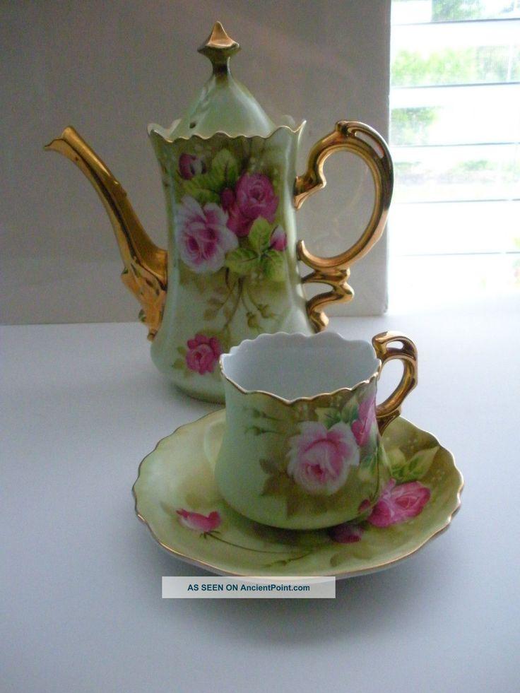 Lefton China Vintage Tea Pot,  Cup & Saucer Hand Painted Green Heritage Japan Cups & Saucers photo