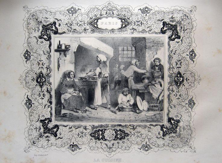 FRANCIA GASTRONOMIA INCISIONE sec. XIX°.  NANTEUIL C. lit. Paris - La cuisine. 1838. Lit., mm.230x270. Bella scena animata di cucina (di ristorante o di ricca famiglia borghese), racchiusa in fastosa bordura decorativa. #amordilibro #incisioni #engravings #antiquebooks #gastronomia Per informazioni: Tel. e fax: 0573-26758 e-mail: mila.sermi@yahoo.it eBay: http://stores.ebay.it/LA-STORIA-DI-CARTA website: www.amordilibro.com