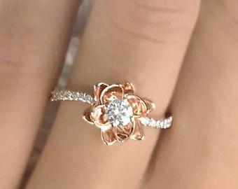 Bague de fiançailles diamant or blanc 14K Bague diamant or jaune bague de mariage