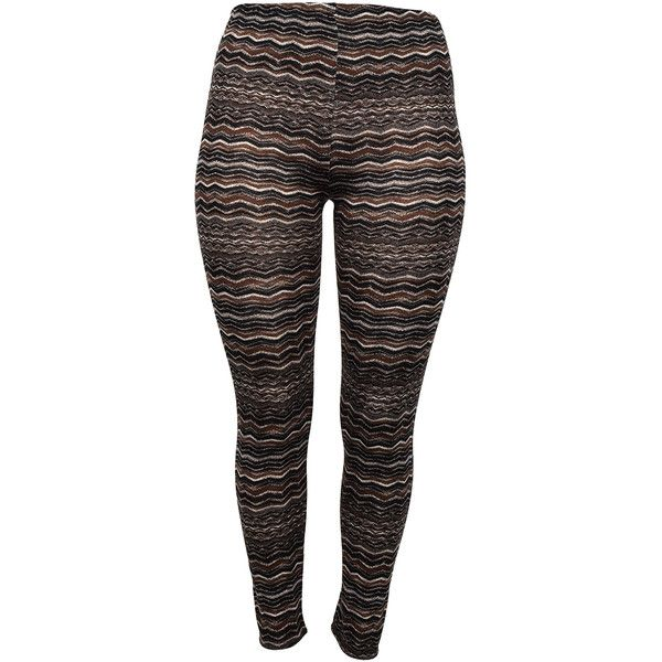Curvy Lily Black & Taupe Leggings ($9.99) ❤ liked on Polyvore featuring plus size women's fashion, plus size clothing, plus size pants, plus size leggings, plus size, taupe leggings, taupe pants and legging pants