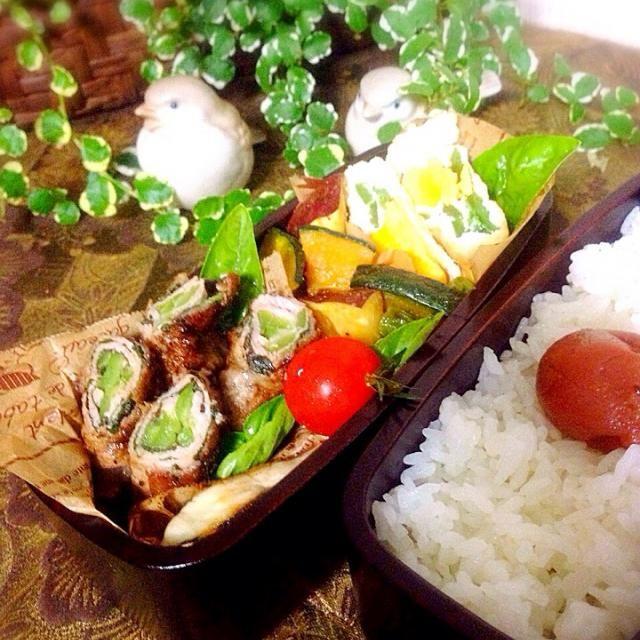 大葉とピーマンの豚肉巻き〜バルサミコソース 南瓜とサツマイモとグリーンピースの味噌煮 卵とピーマンの揚げ巾着煮 焼き鯖とプチトマト  大葉とバジルは自家栽培。 たっぷり使えるのがありがたし❗️ - 50件のもぐもぐ - 大葉とピーマンの豚肉巻き〜バルサミコソースな?お弁当〜 by matsunoyuki
