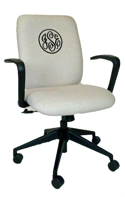 Monogrammed office chair upholstered in a natural linen fabric by Belle Chaise