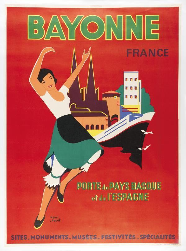 bayonne 1968 illustration de henri laulh france affiches publicitaires de voyages. Black Bedroom Furniture Sets. Home Design Ideas