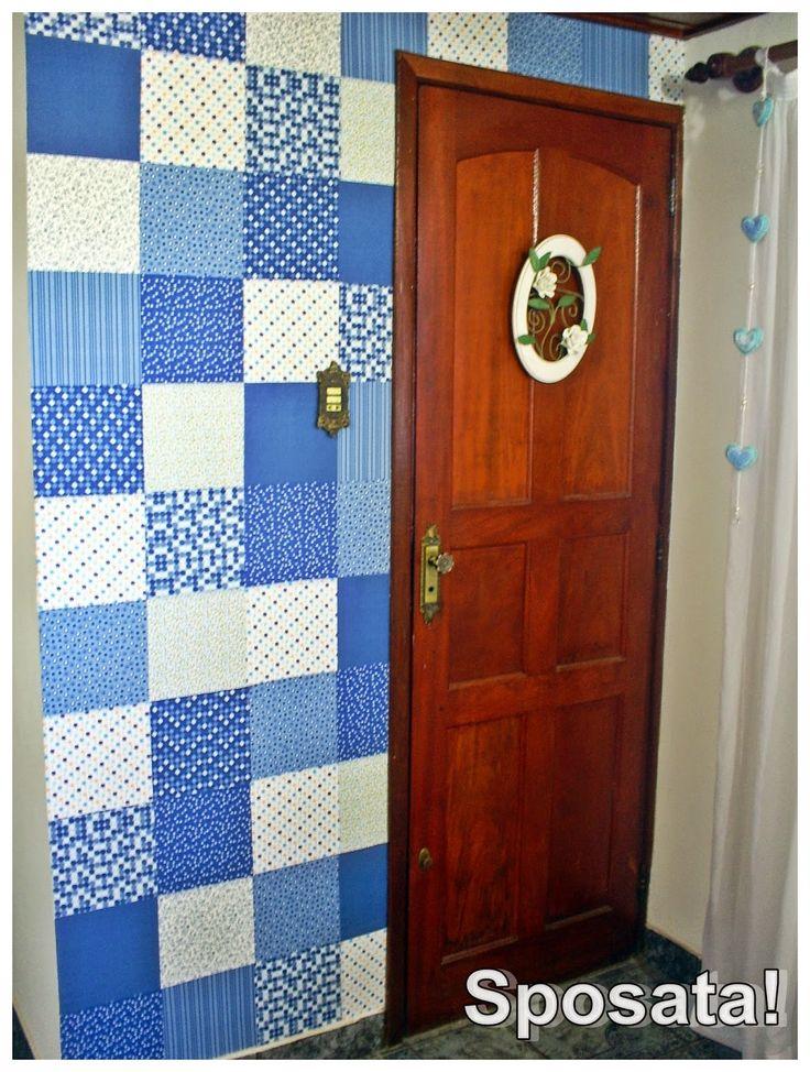 parede de patchwork + tecido adesivo DIY