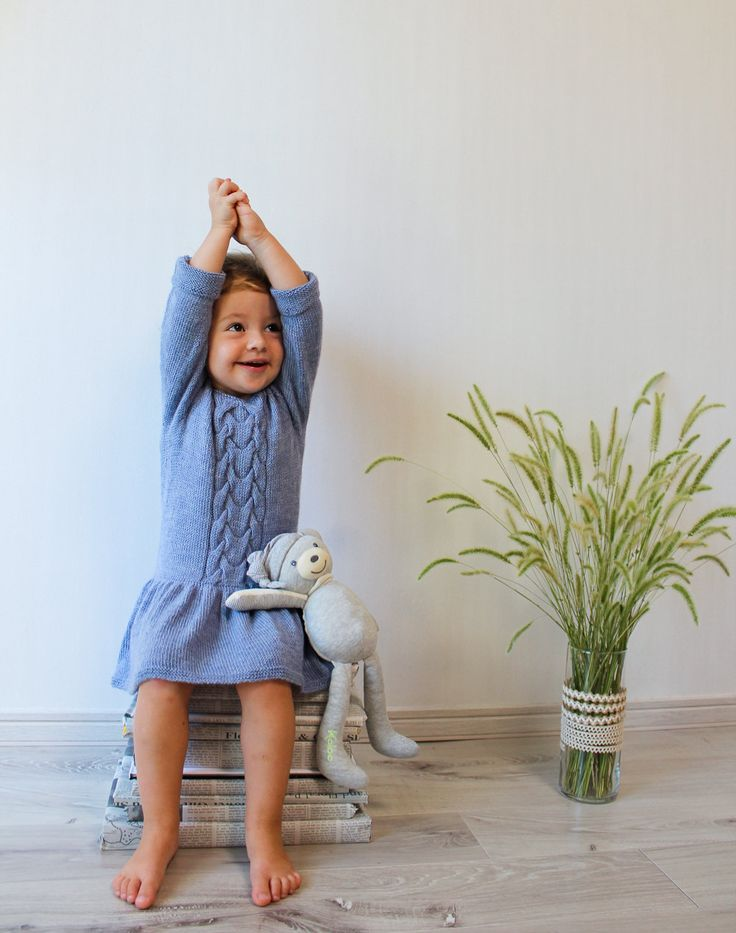 Knit girls dress / Knitted merino dress / Warm dress for girl Knit seamless for extra comfort. Color: light blue Materials: 100% baby merino Size 2T Measurements: Laying flat in a relaxed state it measures approximately 47 cm in length and 52 in circumference. READY TO SHIP Care