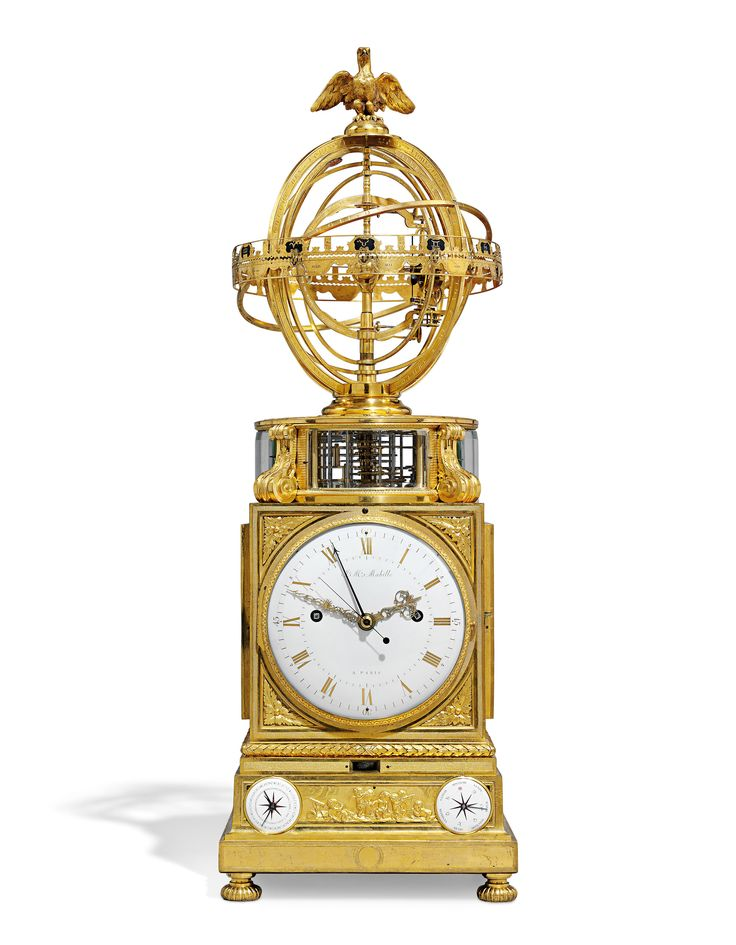 Lot 9  A LOUIS XVI ORMOLU STRIKING TABLE CLOCK WITH CALENDAR, MOONPHASE, EQUATION OF TIME AND TERRESTRIAL 'SPHERE MOUVANTE'  JEAN-MATTHIEU MABILLE AND MARTIN BAFFERT, PARIS, CIRCA 1770-1775