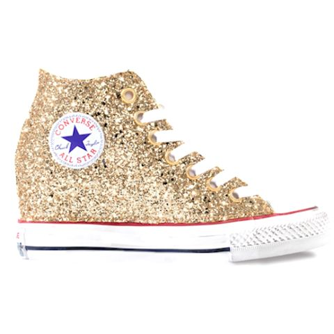 Converse All Stars Lux - Wedge Heel - Champagne Gold Women's Sparkly Glitter