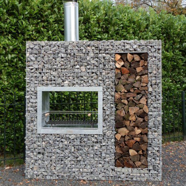 Vertikaler Gabion-Grill aus Holz   – Olivier
