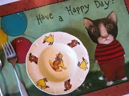 fabric painted placemats cats - Google Search