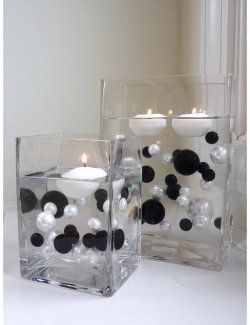 black and white centerpiecesIdeas, Floating Candles, Vases Fillers, Black And White, Black White, Water Gel, Transparent Water, Wedding Centerpieces, Vase Fillers