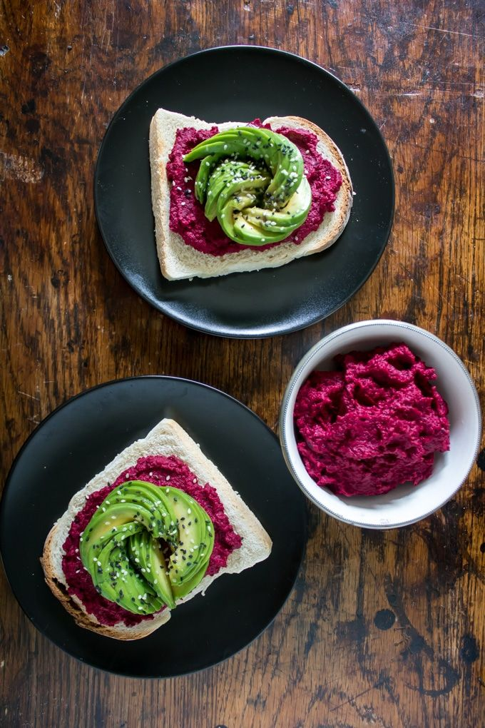 Beetroot Hummus on Toast with Avocado Rose - an overhead shot of the hummus served on toast.