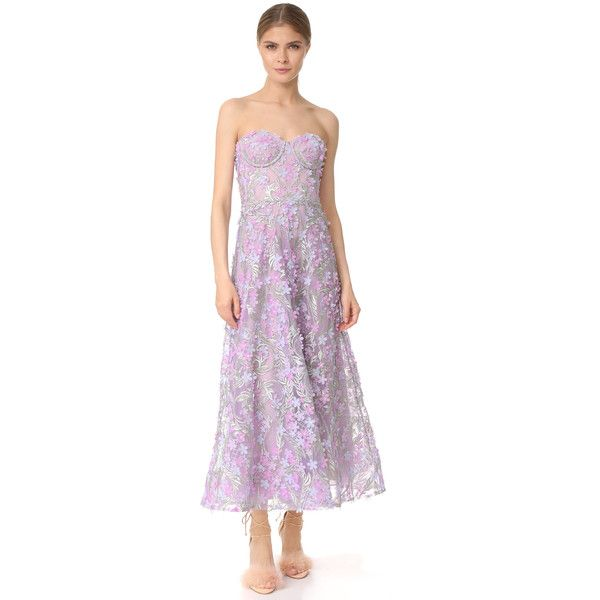 Marchesa Notte Embroidered Strapless Tea Length Gown (€970) ❤ liked on Polyvore featuring dresses, gowns, lilac, strapless gown, strapless evening gown, lilac dress, tea length gown and mesh dress