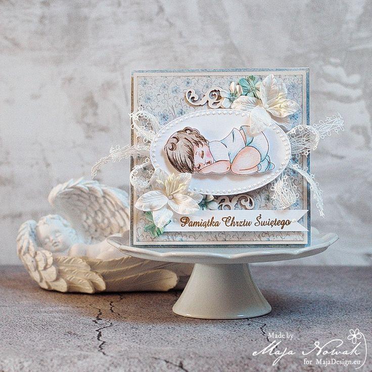 CraftHobby Oliwiaen: Baby Boy Baptism Card / Kartka na chrzest chłopczyka
