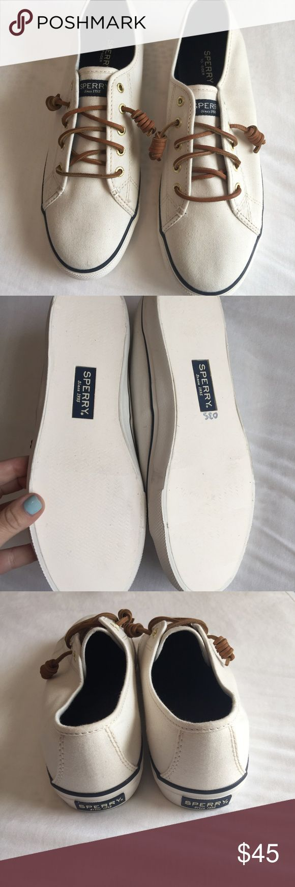 NWOT White Sperry's NWOT White Sperrys with NavyAsking brown  details! Sperry Top-Sider Shoes