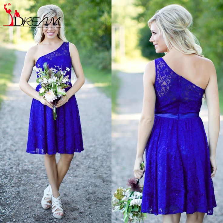 Find More Bridesmaid Dresses Information about Cheap Royal Blue Short Bridesmaid Dresses 2016 One Shoulder Above knee Lace Wedding Party Dresses for Weddings Custom Made,High Quality dress up dress,China dress pvc Suppliers, Cheap dresses dubai from Orenda Wedding Dress Factory on Aliexpress.com