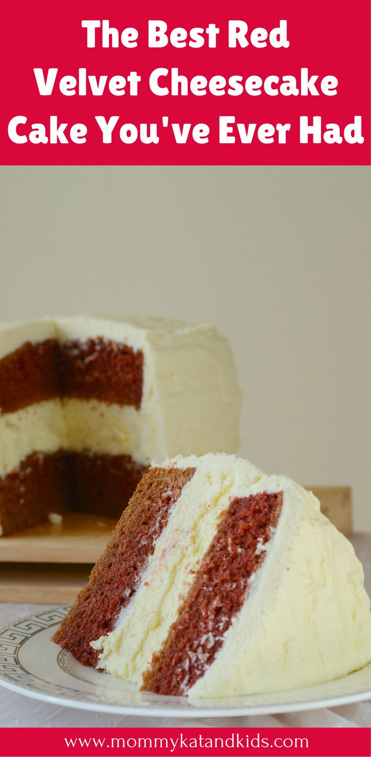 The world's best dessert creation: a red velvet cheesecake cake recipe! It has the soft fluffy red velvet cake with Philadelphia New York Cheesecake layered in between. Your guests will definitely be impressed. Make sure you save this delicious cheesecake cake recipe to your food board.