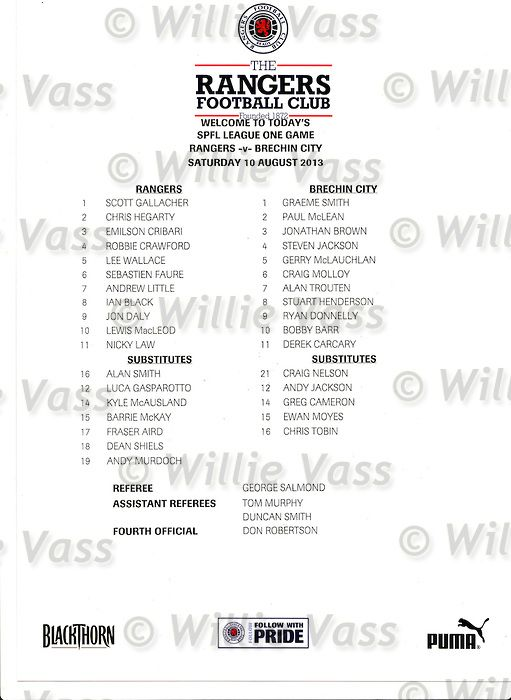 Official teamsheet for Rangers v Brechin City SPFL League 1, 10th August 2013