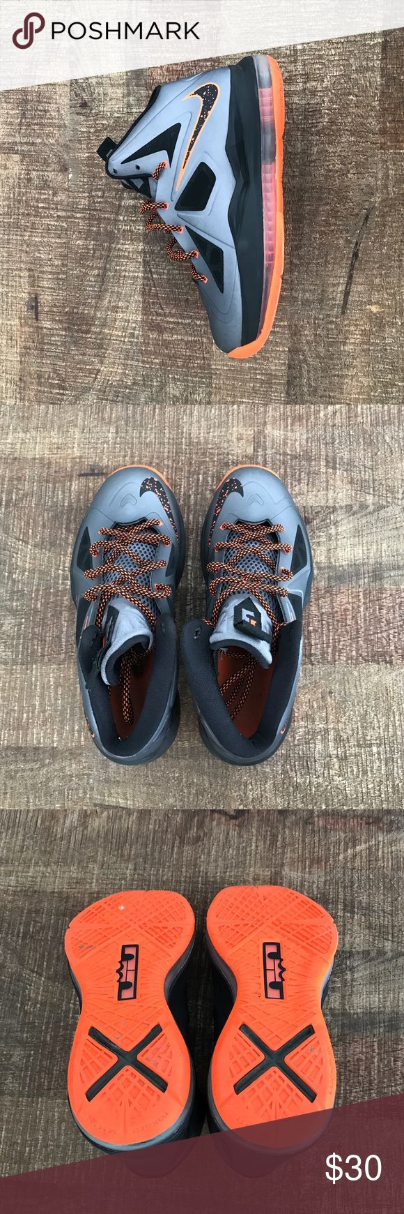 Lebron X Grade School These are only slightly worn, in great condition. They retail for $140. Charcoal/total orange black is the color, as listed on the box. Bundle with another shirt or pants for an added discount! Nike Shoes Sneakers