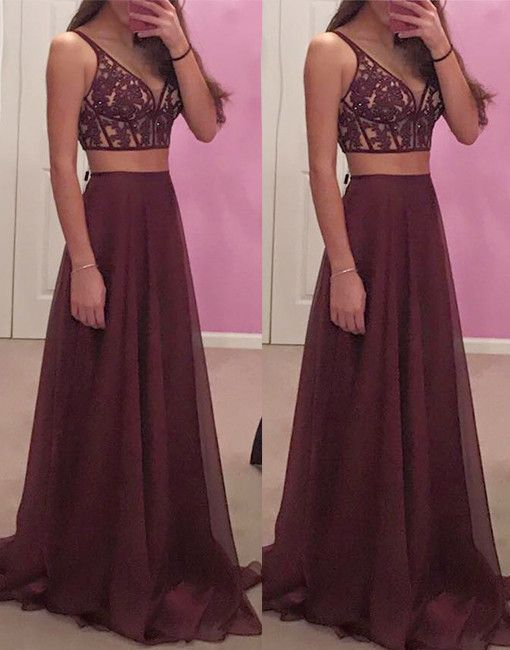 Gorgeous A-Line Two-Piece V-Neck Burgundy Long Prom Dress