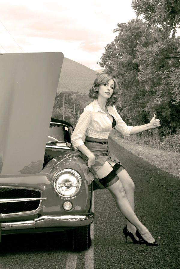 Pinup. Here's a pose I can relate to! Lol. I like this idea for this calendar with cars and girls that I'm gonna be in next month.