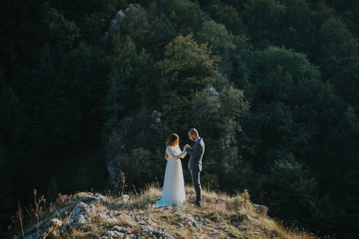 Wedding. Mountains. Summer. Groom and bride.