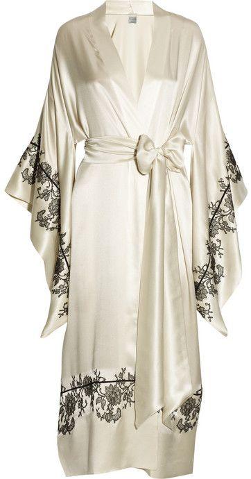 Carine Gilson Lace-appliquéd silk-satin kimono robe on shopstyle.com