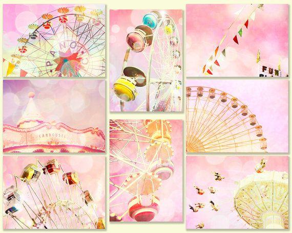 Nursery art, nursery decor, peach, ferris wheel, wall art, pink, mauve, honeysuckle, baby, circus, carousel wall decor