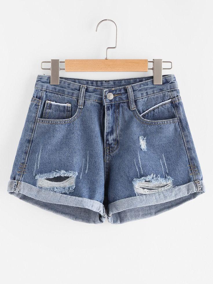 Shop Ripped Cuffed Denim Shorts online. SheIn offers Ripped Cuffed Denim Shorts & more to fit your fashionable needs.