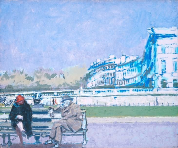 The Front at Hove (Turpe Senex Miles Turpe Senilis Amor) (1930) by Walter Richard Sickert. The faded, shabby grandeur of Hove's Regency Crescents echoes the couple on the bench: the painting's subtitle from Ovid translates as 'An old soldier is a wretched thing, so also is senile love'. Sickert spent the summer of 1926 in Brighton, and from May 1927 to 1931 rented a studio in the Kemp Town area.