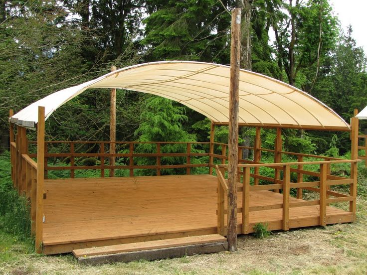 Tent platform. Something like this in the camping area for groups to meet at night, during rain, etc. Removable canopy?