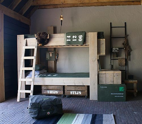 rustic/industrial military themed kids' room