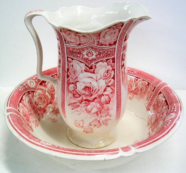 J & G Meakin circa 1920 decorative porcelain Wash Basin & Pitcher Set