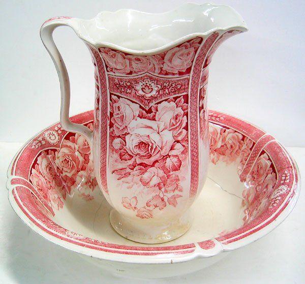 J G Meakin circa 1920 decorative porcelain Wash Basin Pitcher Set Basin is 17 diameter x 5 H, pitcher is 12 1/2 H x 7 diameter