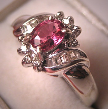 Nice Vintage Diamond Tourmaline Wedding Ring White Gold Pink